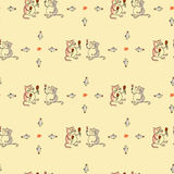 Bezszwowy deseniowy kot i wino Royalty Ilustracja