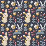 Bezszwowy deseniowy królik, zając, pszczoła, kwiaty, zwierzęta, rośliny, serca, pieczarka, jagoda dla dzieciaków Zdjęcia Royalty Free
