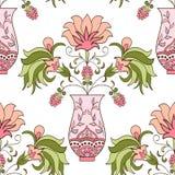 Bezszwowy deseniowy kwiecisty bukiet w wazie Obraz Stock