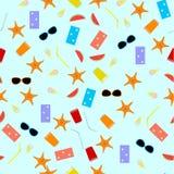 Bezszwowy deseniowy lato temat z napojami, jedzeniem, rozgwiazdą, ręcznikiem, okularami przeciwsłonecznymi i arbuzem, Zdjęcia Stock