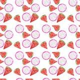 Bezszwowy deseniowy lody i egzot owoc royalty ilustracja