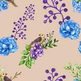 Bezszwowy deseniowy Mały ptak z kwiatami i rośliny akwarelą royalty ilustracja