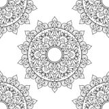 Bezszwowy deseniowy mandala ornament Kwiecisty mandala elementu dekoracyjny rocznik R?ka rysuj?cy orientalny t?o kwiecisty ilustracji