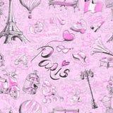 Bezszwowy deseniowy Paryż Obrazy Royalty Free