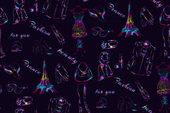 Bezszwowy deseniowy Paryż Zdjęcie Stock