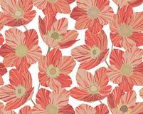 Bezszwowy deseniowy piękny czerwony koral kwitnie tło, witrażu styl Ilustracja Wektor