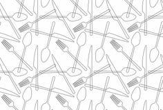 Bezszwowy deseniowy rozwidlenie, łyżka, nóż ilustracja wektor