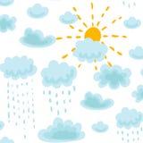 Bezszwowy deseniowy słońce, chmury i deszcz, royalty ilustracja