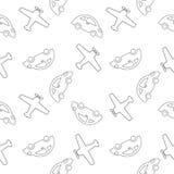 Bezszwowy deseniowy samolot i samochody Fotografia Stock