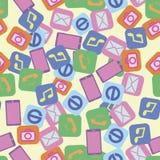 Bezszwowy deseniowy smartphone fotografii interneta muzyki wezwanie ilustracji