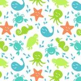 Bezszwowy deseniowy stubarwny morscy zwierzęta ilustracja wektor