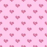 Bezszwowy deseniowy tła serce Wielostrzałowy serce wzór Różowy serce wzór Grecki serce wzór Obrazy Royalty Free