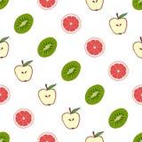 Bezszwowy deseniowy tło grapefruitowy, kiwi, jabłko Zdjęcie Royalty Free