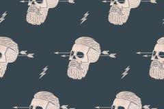 Bezszwowy deseniowy tło rocznik czaszki modniś z strzała Zdjęcia Royalty Free