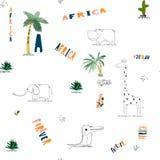 Bezszwowy deseniowy tło z Afrykańskimi śmiesznymi dziecięcymi zwierzętami ilustracja wektor