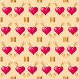 Bezszwowy deseniowy tło z sercami przebijającymi złotymi strzałami Walentynka dnia wakacji typografia ilustracja wektor