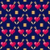 Bezszwowy deseniowy tło z sercami przebijającymi złotymi strzałami Walentynka dnia wakacji typografia royalty ilustracja
