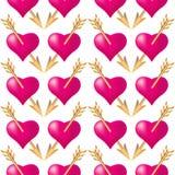 Bezszwowy deseniowy tło z sercami przebijającymi złotymi strzałami Walentynka dnia wakacji typografia ilustracji