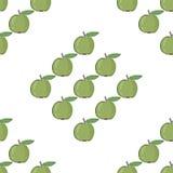 Bezszwowy deseniowy tło z zielonymi jabłkami Obrazy Stock