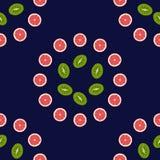 Bezszwowy deseniowy tło grapefruitowy, kiwi Obrazy Stock