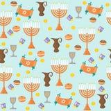 Bezszwowy deseniowy tło z Hanukkah tradycyjnymi elementami w mieszkanie stylu Zdjęcia Royalty Free