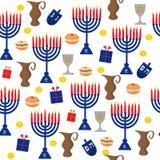 Bezszwowy deseniowy tło z Hanukkah tradycyjnymi elementami w mieszkanie stylu Zdjęcie Royalty Free