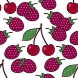 Bezszwowy deseniowy tło z jagodami, kolorowa ilustracja ilustracja wektor
