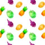 Bezszwowy deseniowy withpineapple, mango, draconian owoc, durian z kleksami i plamy na białym tle, Akwareli sztuka zdjęcie stock