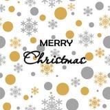 Bezszwowy deseniowy złocisty szary śnieg Spada na białym tle z Wesoło Christmass Złoci Szarzy płatek śniegu Tło dla twój Chr royalty ilustracja
