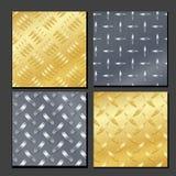 Bezszwowy Diamentowy metalu tło Ustawiający Z stąpanie talerzem Złoto, chrom, srebro, stal, aluminium Wektorowy Realistyczny wzór royalty ilustracja