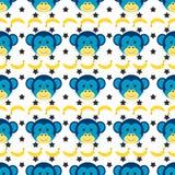 Bezszwowy doodle małpy wzór Obrazy Stock