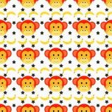 Bezszwowy doodle małpy wzór Obrazy Royalty Free