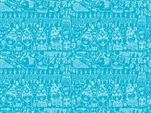 Bezszwowy Doodle przyjęcia urodzinowego wzoru tło Zdjęcia Stock