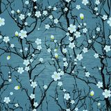 Bezszwowy drzewo wzór. Japoński czereśniowy okwitnięcie Zdjęcie Royalty Free