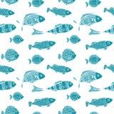 Bezszwowy dwa kolorów wzór Błękitne sylwetki Ilustracji