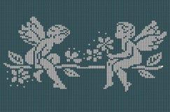 Bezszwowy dzianiny tło - aniołowie Zdjęcia Stock