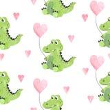 Bezszwowy dziecięcy wektoru wzór z ślicznymi akwarela krokodylami, sercami i royalty ilustracja