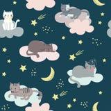 Bezszwowy dziecięcy wzór z kotami, chmurami, księżyc i gwiazdami, ilustracja wektor