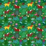 Bezszwowy dziecka ` s wzór z magicznym lasem i jednorożec royalty ilustracja