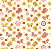 Bezszwowy dziecka tło z z pszczołami, motylami, ślimaczkami i kwiatami, Fotografia Royalty Free