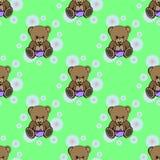 Bezszwowy dziecko niedźwiedzia wzór royalty ilustracja