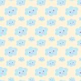 Bezszwowy dziecko wzór z śliczny błękitny ono uśmiecha się chmurnieje na pastelowym żółtym tle, ilustracja, eps 10 Kawaii uśmiech Obraz Royalty Free