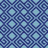 Bezszwowy dziewiarski geometrical wzór w błękitnych odcieniach Zdjęcie Royalty Free