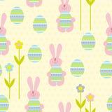 Bezszwowy Easter królik, jajka i Zdjęcia Stock