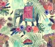 Bezszwowy egzotyczny akwarela wzór z słoniami, kwiaty, liście, piórka, ganesha ilustracja wektor
