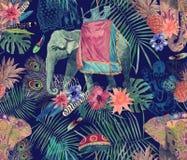 Bezszwowy egzotyczny akwarela wzór z słoniami, kwiaty, liście, piórka, ganesha ilustracji