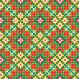 Bezszwowy etniczny deseniowy tło w zieleni, orang Obraz Royalty Free