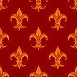 Bezszwowy Fleur De Lys pomarańcze królewski wzór Obraz Stock