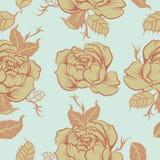 Bezszwowy floralpeony wektoru wzór w tatto stylu Zdjęcie Stock