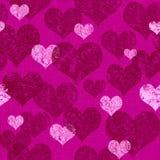 Bezszwowy Głęboki - różowy walentynki serca tło ilustracji